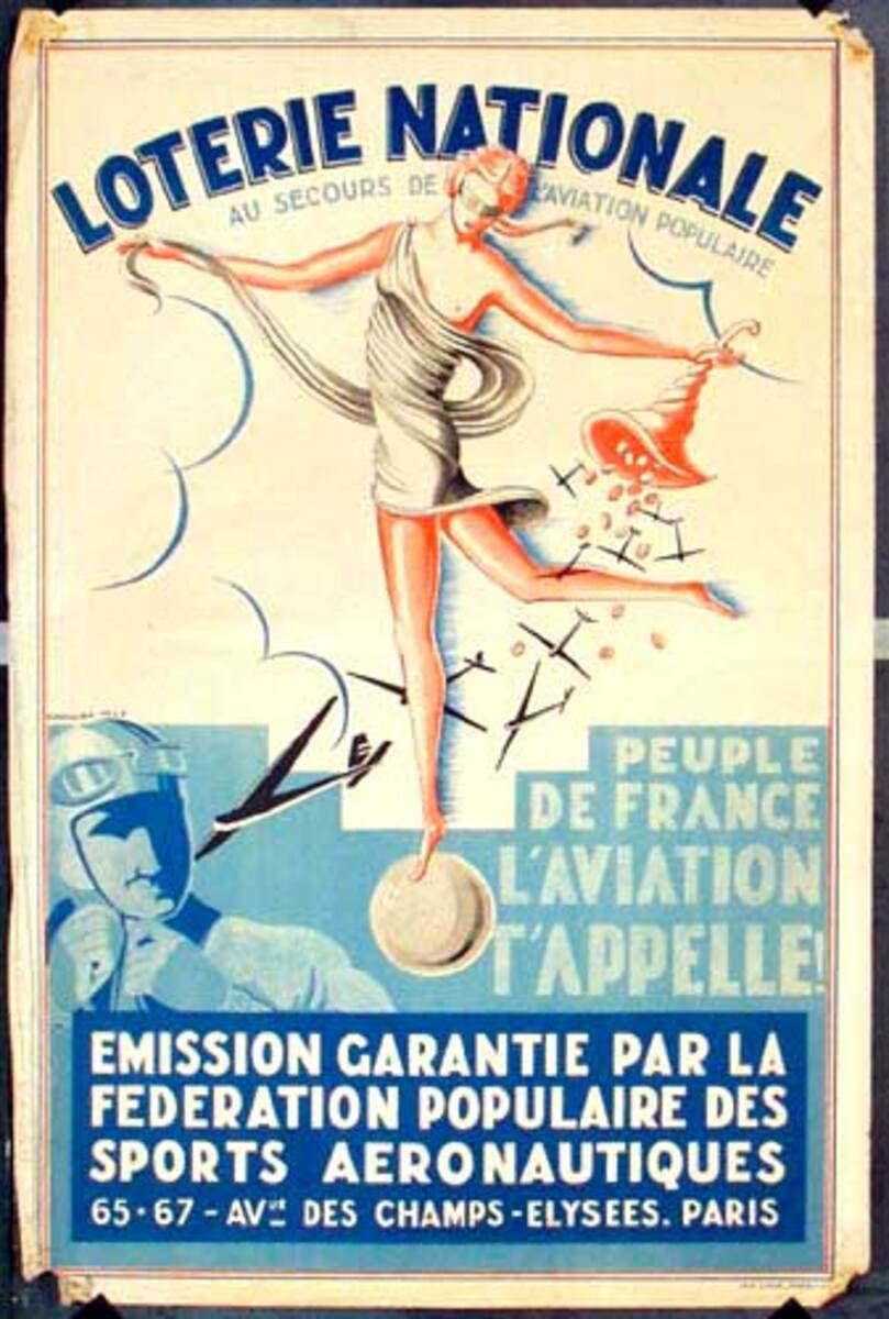 French Loterie Nationale Original Vintage Poster Aviaton
