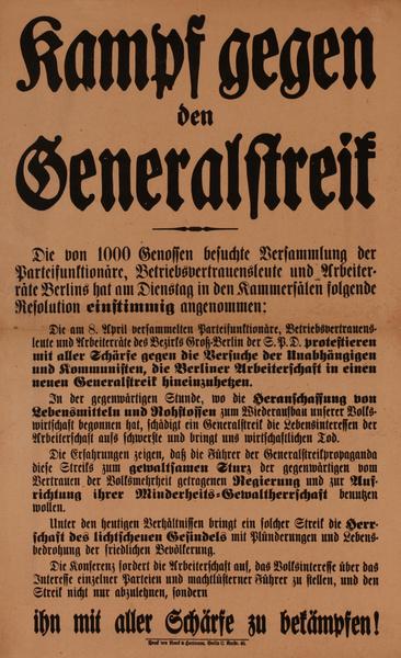 Kampf gegen den Generalstreif<br>German World War I Poster