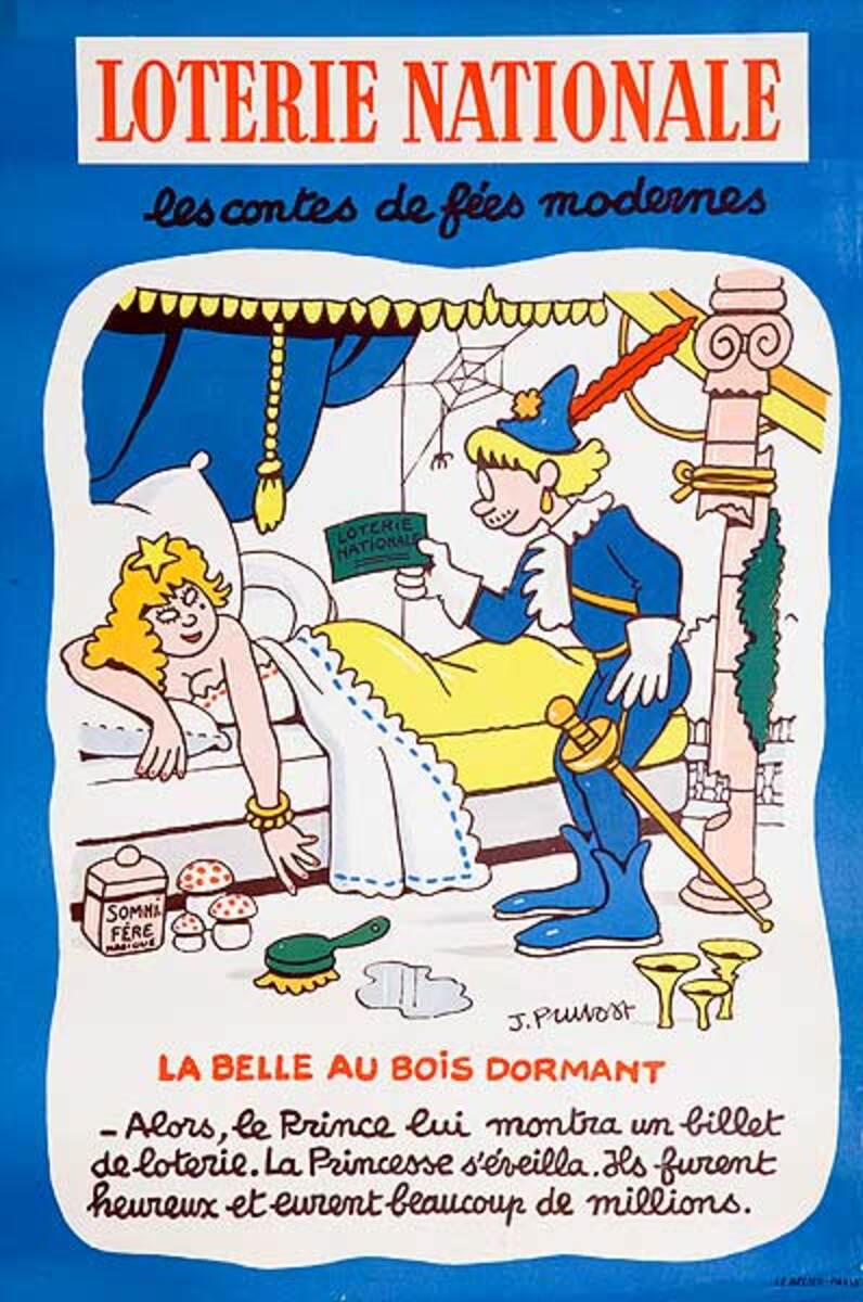 Modern Fairy Tales Sleeping Beauty Original French Loterie Poster