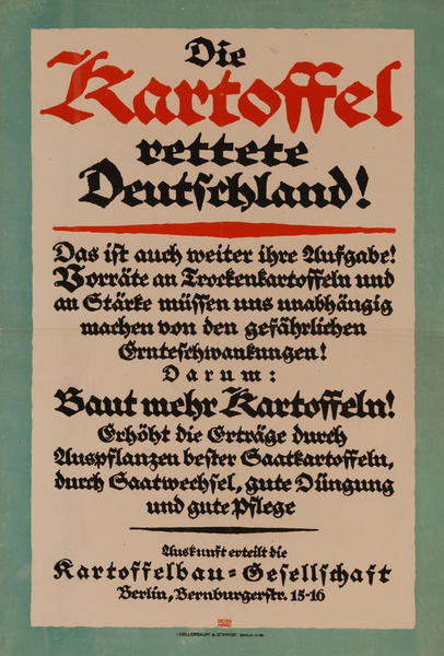 Die Kartoffel rettete Deutschland!<br>German World War I Poster