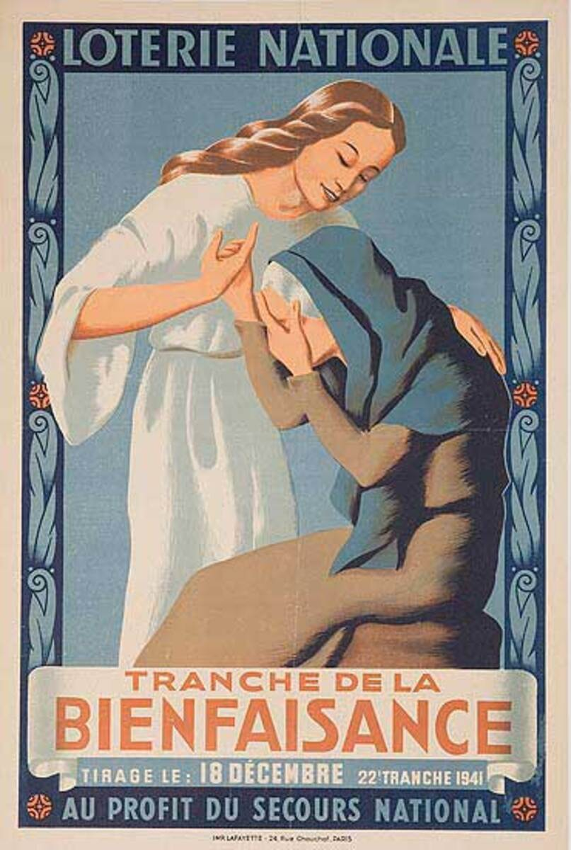 French Loterie Nationale Original Vintage Poster Bienfaisance
