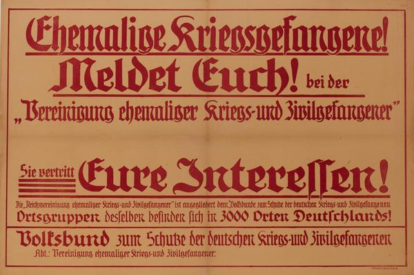 Ehemalise Kriegsgefangere Meldet!<br>German World War I Poster