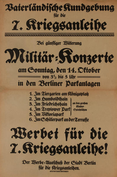 Militär Konzerte<br>German World War I Poster