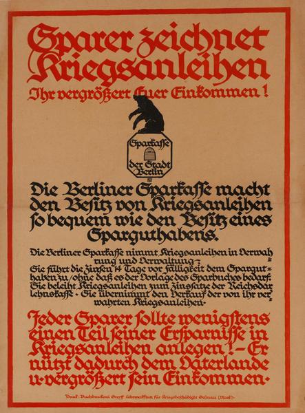 Sparer zeichnet Kriegsanleihen<br>German World War I Poster