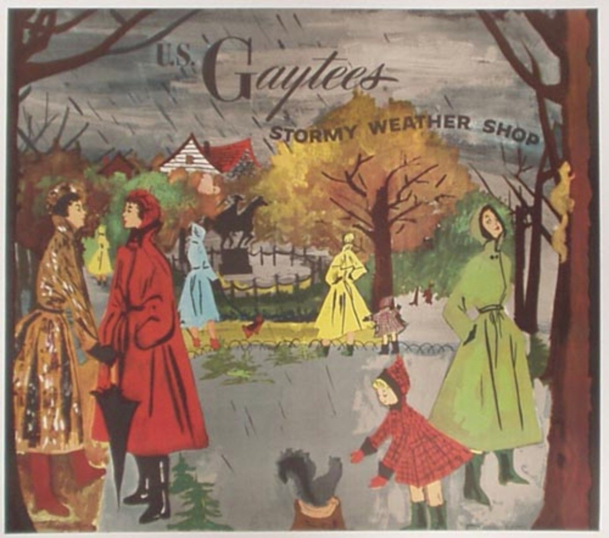 Original Vintage US Gaytees Stormy Weather Raincoat Advertising Poster