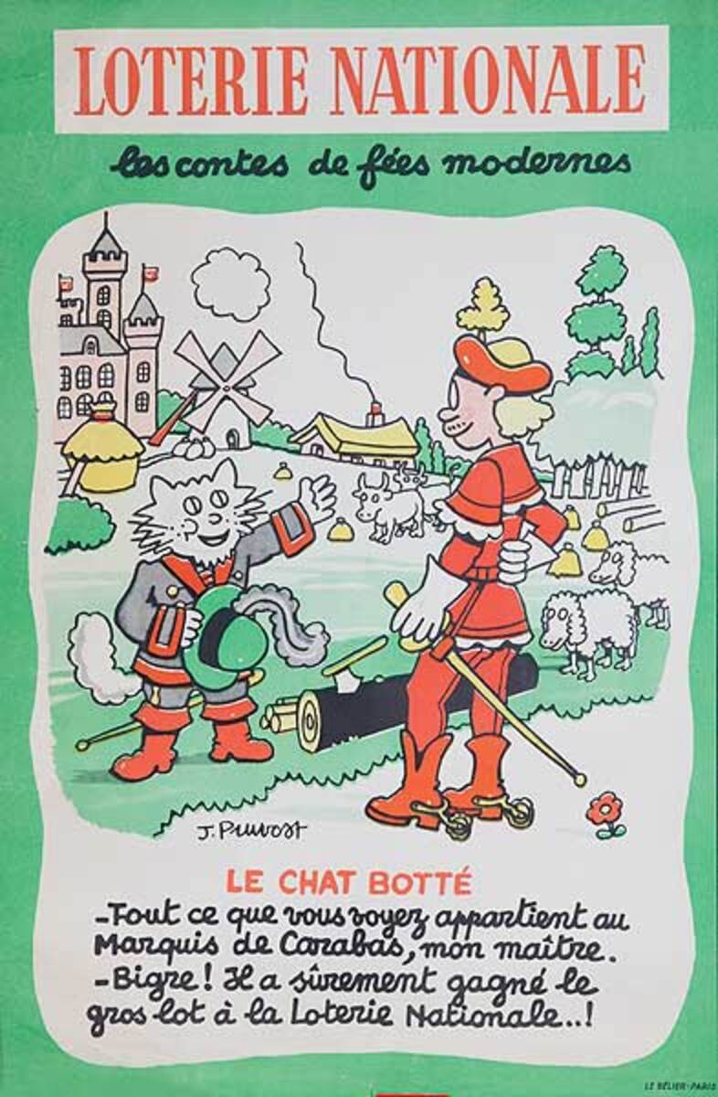 Modern Fairy Tales Puss in Boots Original French Loterie Poster