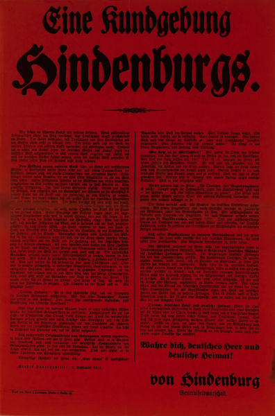 Eine Kundgebung Hindenburgs<br>German World War I Poster