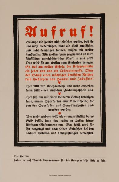 Uufruf!<br>German World War I Poster