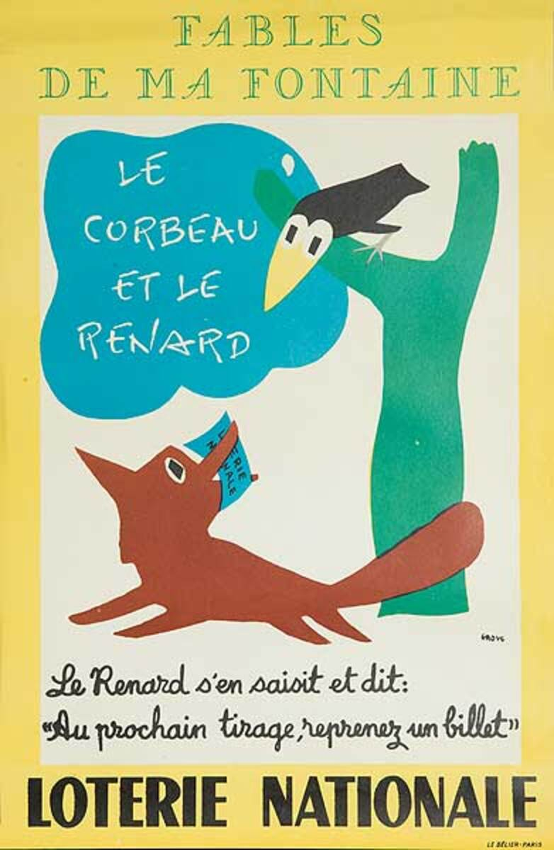 The Fox and The Crow Original French Loterie Poster