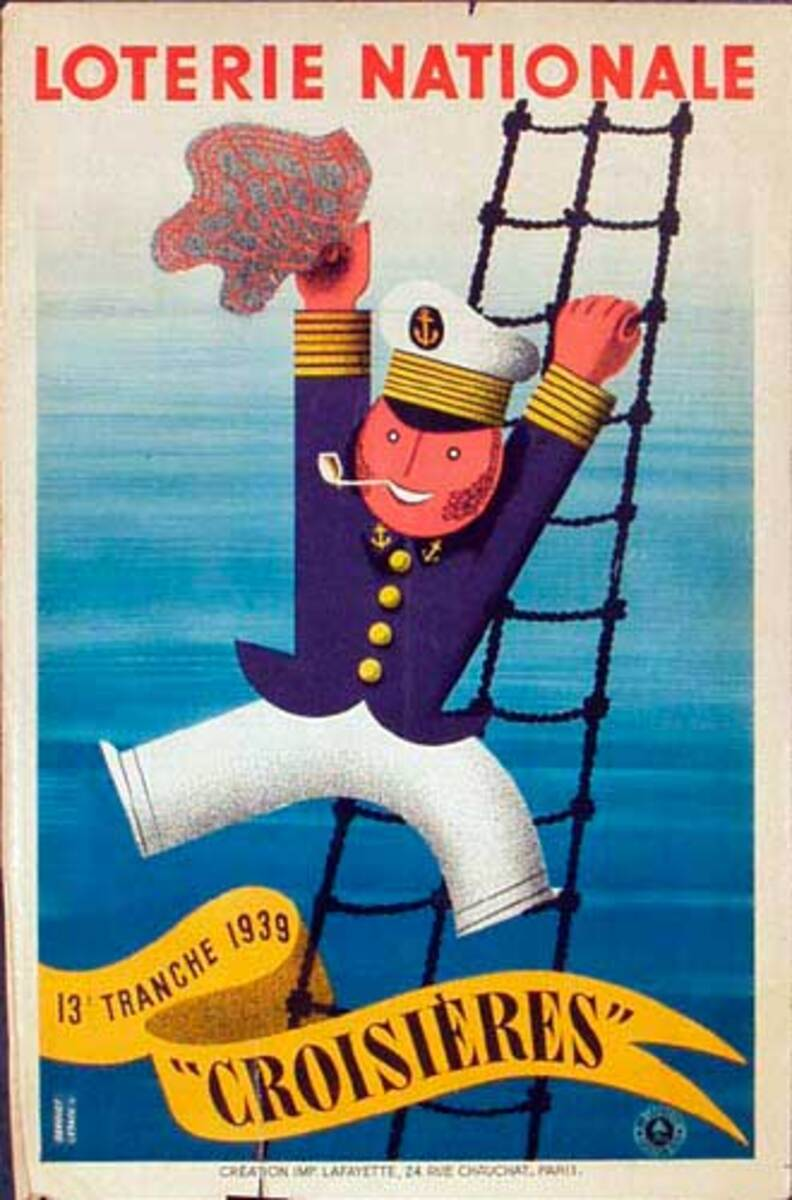 French Loterie Nationale Original Vintage Poster Croisieres (Cruises)
