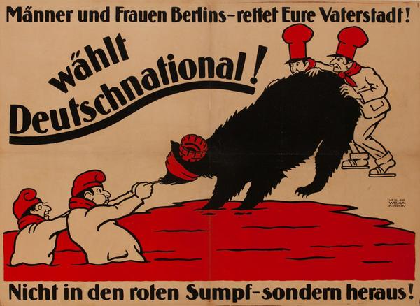 Manner und Frauen Berlins - Wählt Deutschnational! <br>Post WWI Anti-communist German Political Poster