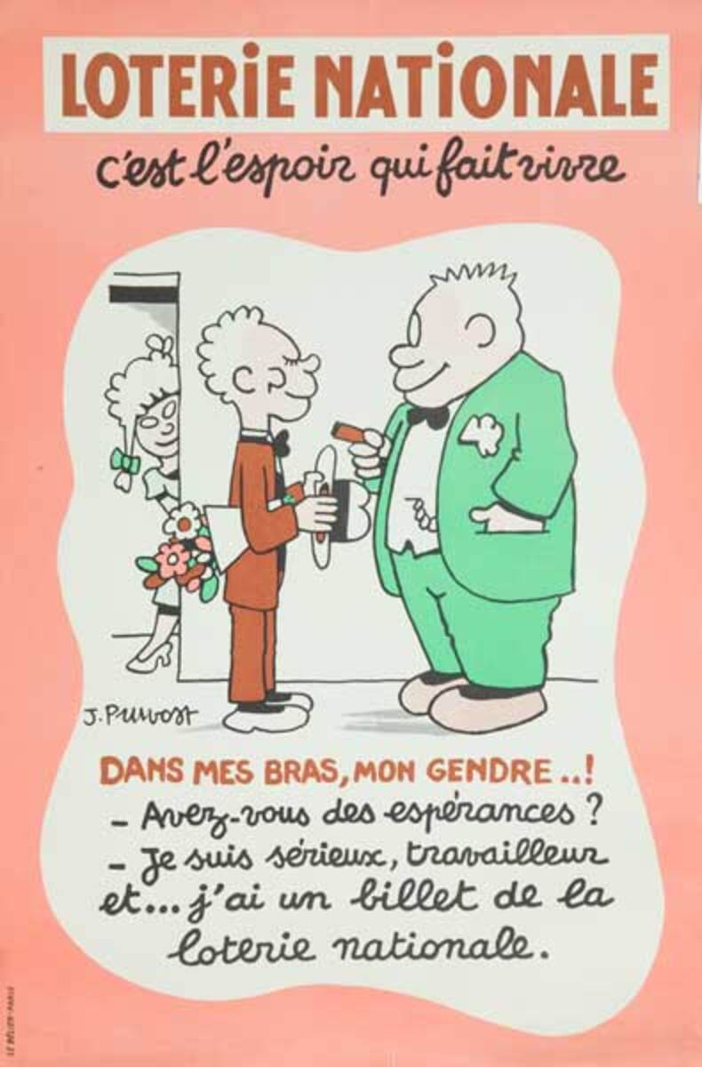 I Want to Marry Your Daughter (and I Have a Lottery Ticket) Original French Loterie Poster