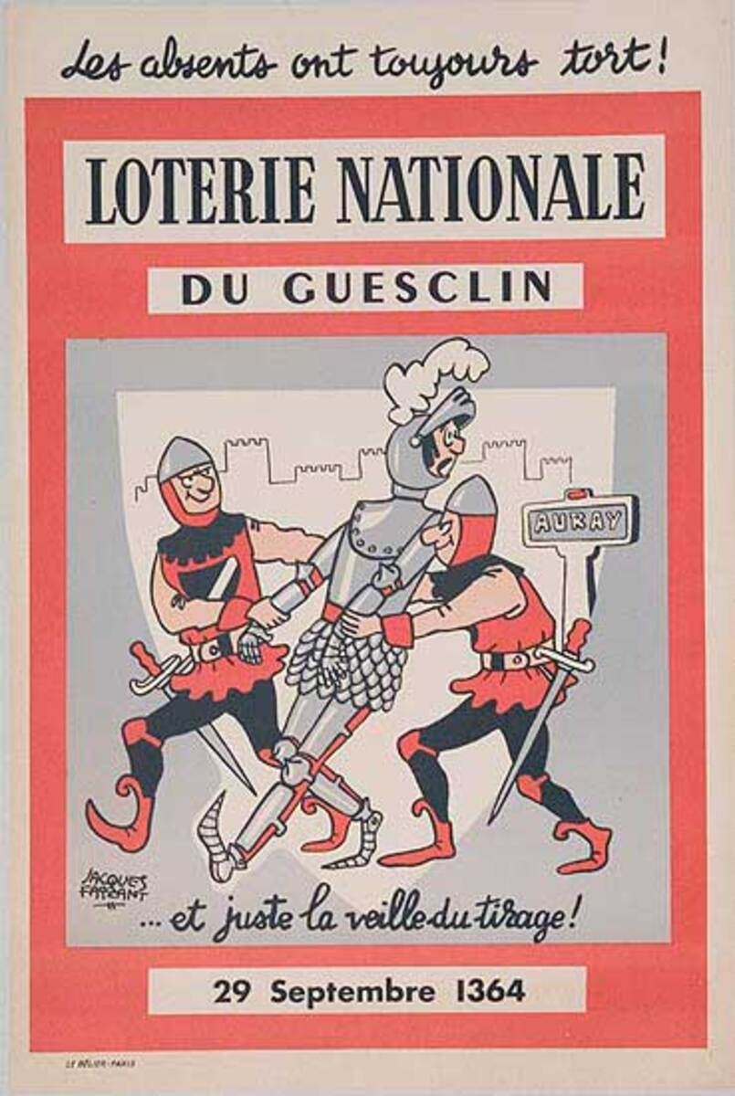 French Loterie Nationale Original Vintage Poster du Gueclin