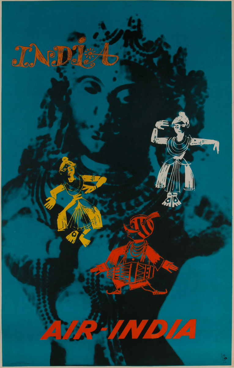 Air India Travel Poster, Maharajah Dancing with Traditional Dancers