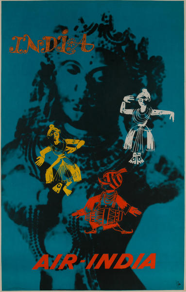 Air India Travel Poster, Maharajah Dancing with Traditional Dancers