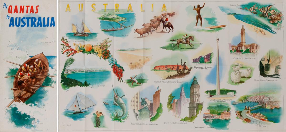 Fly Qantas to Australia<br>Qantas Travel Brochure