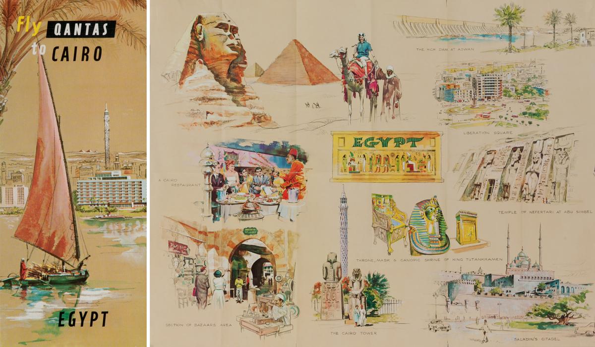 Fly Qantas to Cairo Egypt<br>Qantas Travel Brochure