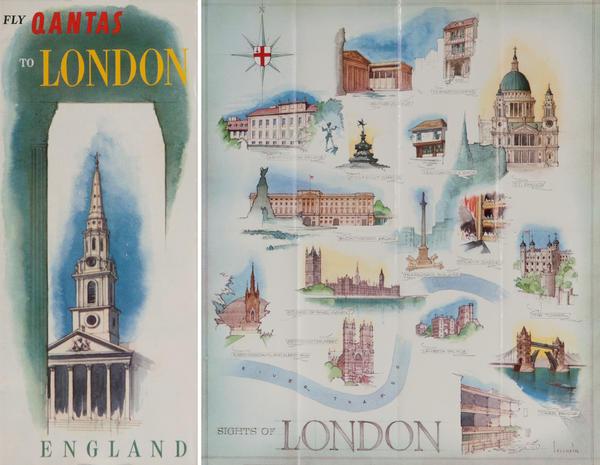 Fly Qantas to London England<br>Qantas Travel Brochure