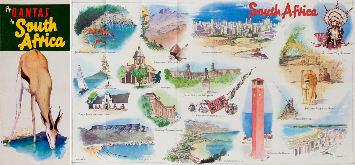 Fly Qantas to South Africa<br>Qantas Travel Brochure