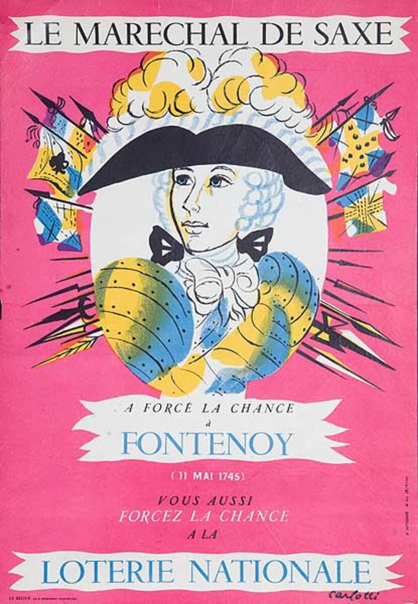 French Loterie Nationale Original Vintage Poster Fontenoy