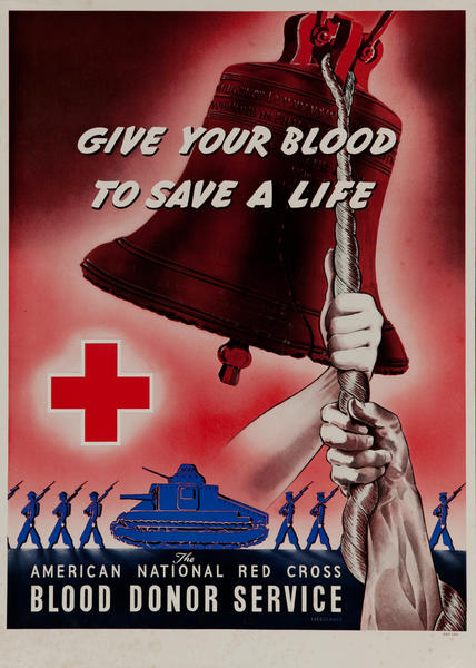 Give Your Blood to Save a Life<br>American National Red Cross Blood Donor Service Poster