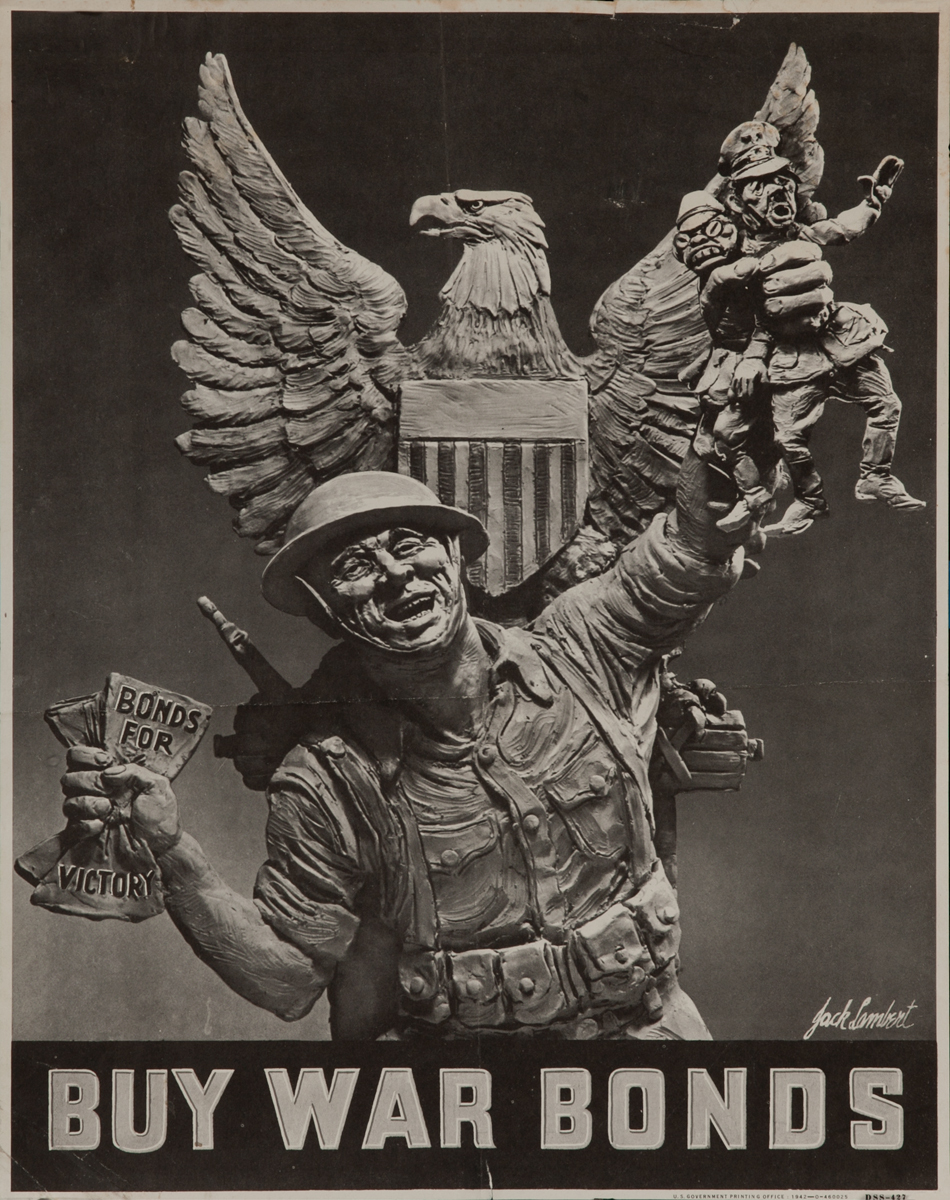 Buy War Bonds, Soldier with Hitler and Tojo Caricature