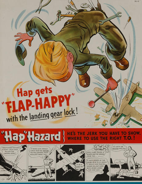 Hap-gets Flap Happy with the landing gear lock<br>WWII Flight Training Poster