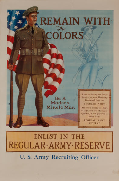 Remain With The Colors, Enlist in the Regular Army Reserve<br>pre-WWI Recruiting Poster