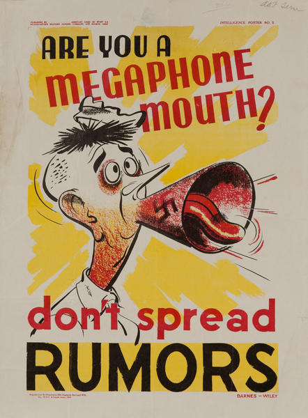 Are You a Megaphone Mouth? Don't spread Rumors<br>WWII Careless Talk Poster
