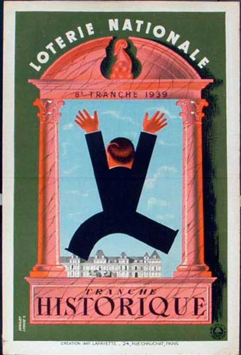 French Loterie Nationale Original Vintage Poster Historique