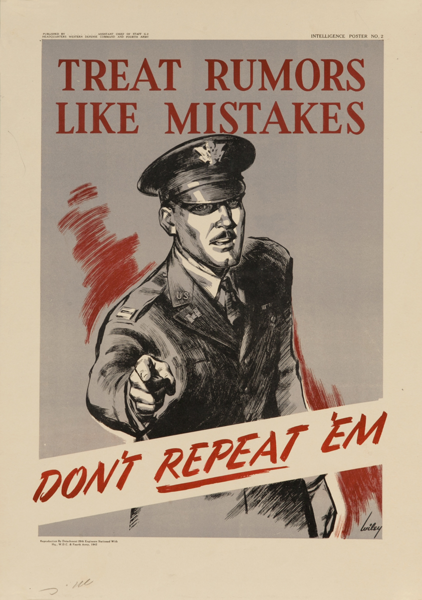 Treat Rumors Like Mistakes, Don't Repeat 'Em<br>WWII American Careless Talk Poster