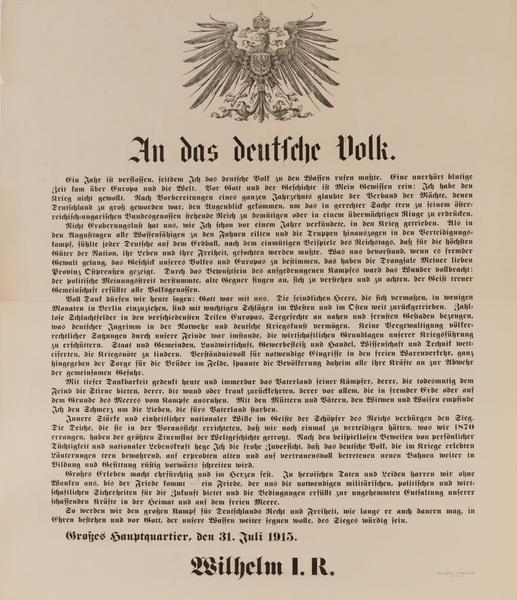 An Das Deutsch Volk<br>German WWI Poster