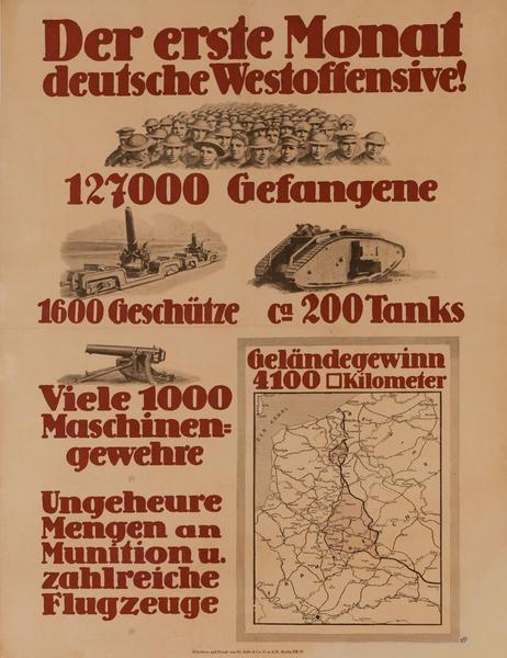 Der erste Monat Deutsche Westoffensive!<br>German WWI Poster