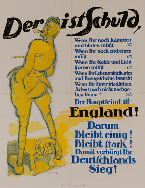 Der ist Schuld - It's His Fault<br>German WWI Poster