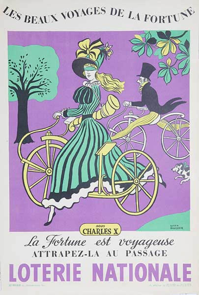 The Beautiful Voyage of Fortune Original French Loterie Poster Charles X