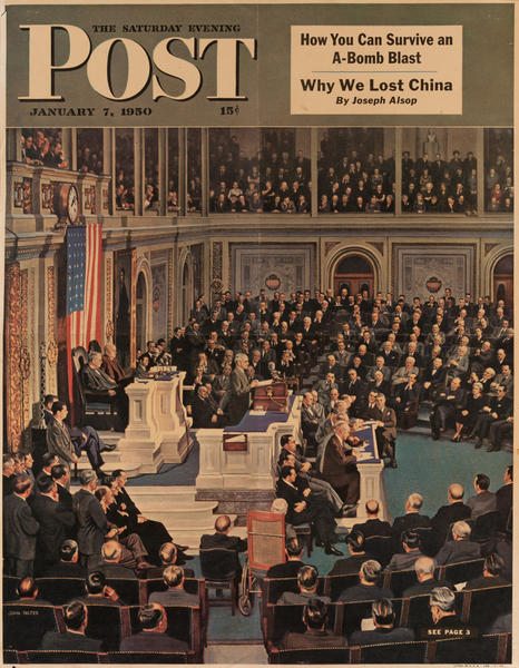 Saturday Evening Post, January  7, 1950<br>Newstand Advertising Poster