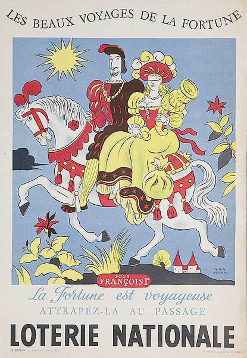 The Beautiful Voyage of Fortune Original French Loterie Poster Sous Francoist
