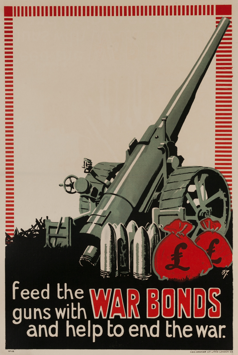 Feed the guns with War Bonds and help and the war.<br>British WWI Poster