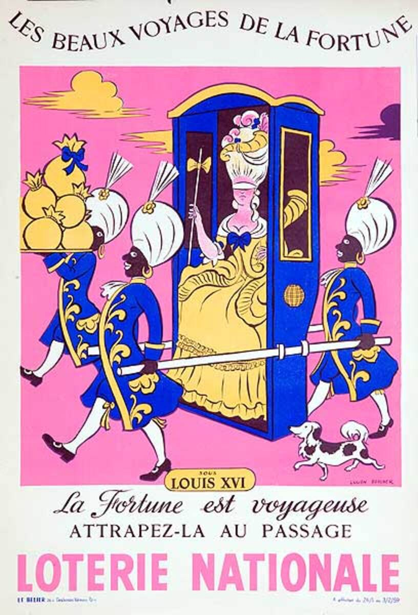 The Beautiful Voyage of Fortune Original French Loterie Poster Louis XVI