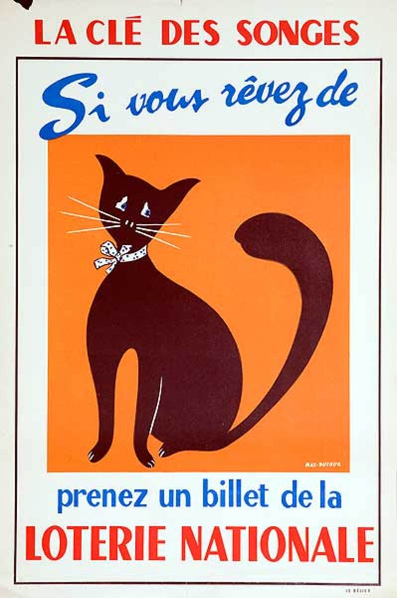 If You Dream Original French Loterie Poster Cat