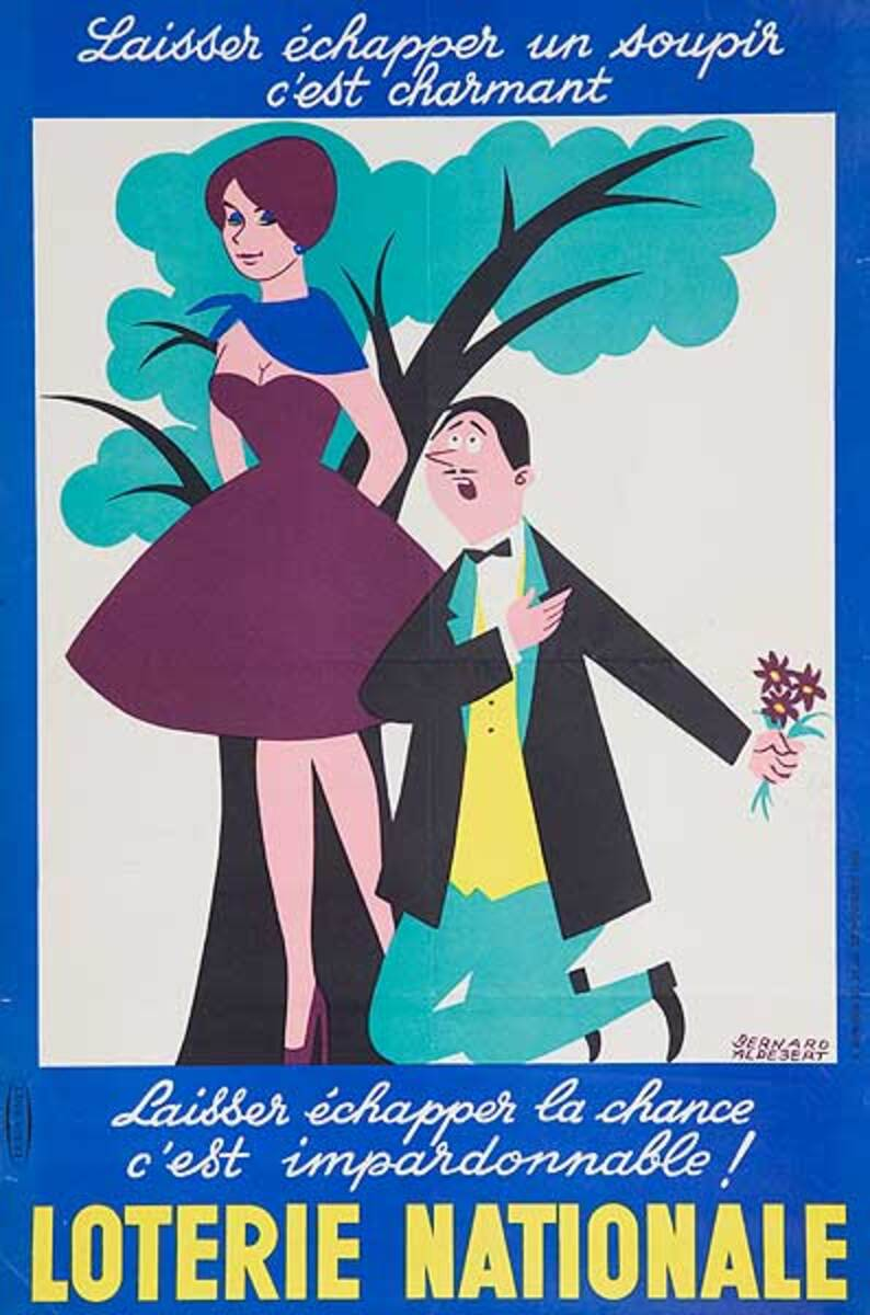 To Breathe A Sigh Is Charming Original French Loterie Poster