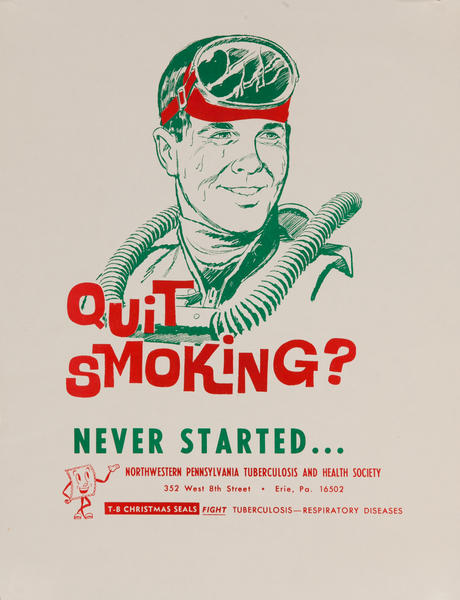 Quit Smoking? Never Started - Scuba Diver<br>American Health Poster