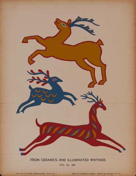Folk Art of Rural Pennsylvania, Plate 3 From Ceramics and Illuminated Writings 1773 to 1811<br>WPA Art Print