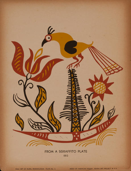 Folk Art of Rural Pennsylvania, Plate 14 From a Sgraffito Plate 1812<br>WPA Art Print