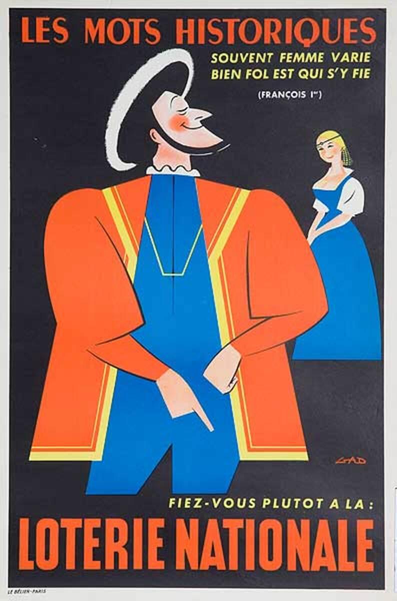 Le Mots Historiques Original French Loterie Poster