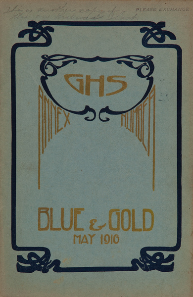 The Blue and Gold, Girls High School Student Magazine, May 1916