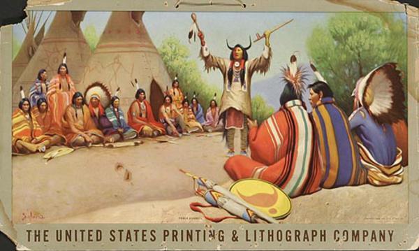 US Printing Original Advertising Poster Western Scene Peace Council