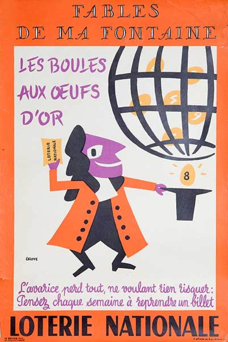Les Boules Aux Oeuf D'Or Original French Loterie Poster