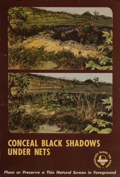 Conceal Black Shadows Under Nets<br>WWI Training Poster