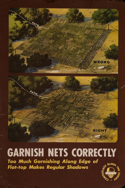 Garnish Nets Correctly<br>WWI Training Poster